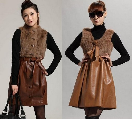 Кожаные платья с меховыми вставками