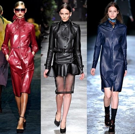 Кожаные платья-пальто