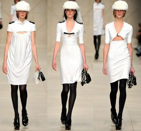 Белые платья милитари от Burberry Prorsum