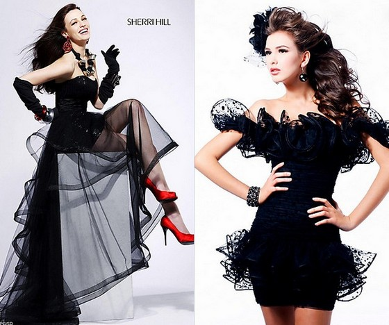 Черные платья на Новый год 2012