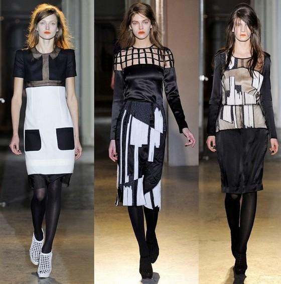 Платья на осень 2011 черно-белые Rue du Mail