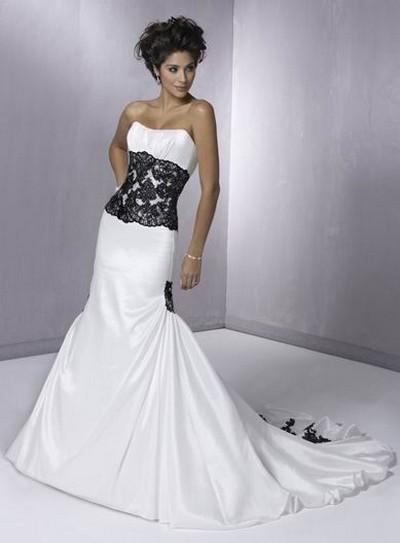 Черно-белые свадебные платья русалка фото