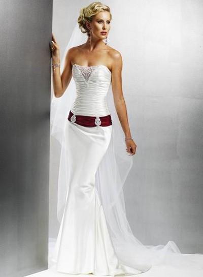Свадебное платье русалка красное с белым