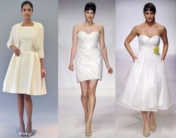 Свадебные платья 2012 короткие, Carolina Herrera, Alfred Angelo