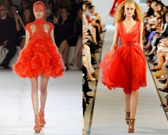 Красные короткие платья Alexander McQueen и Oscar de la Renta