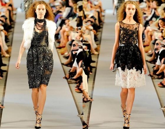 Оскар де ла Рента, короткие вечерние платья 2012