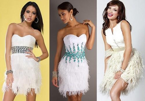 Короткие белые платья с перьями