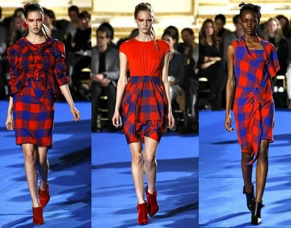 Платье в красно-синюю клетку от Thakoon