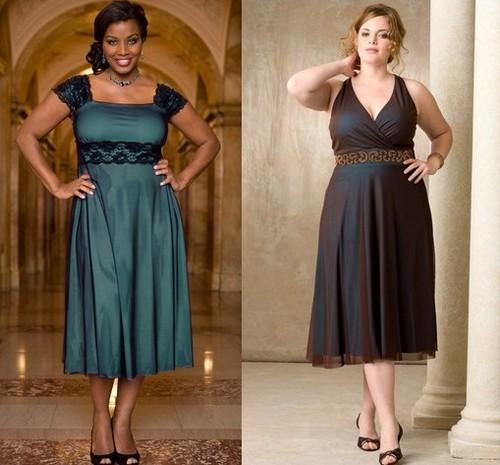 Платья элегантные и короткие для полных