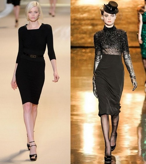 Трикотажные платья зима 2012, Elie Saab, Badgley Mischka.