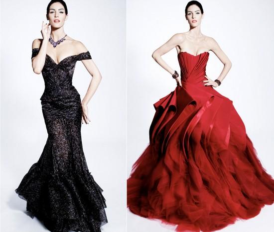 Черное и красное свадебные платья зима 2012, Zac Posen
