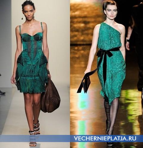 С чем носить зеленое платье - платья от Bottega Veneta и Badgley Mischka