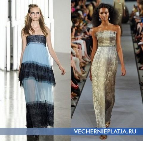 Длинные платья бюстье 2012 от Rodarte и Oscar de la Renta