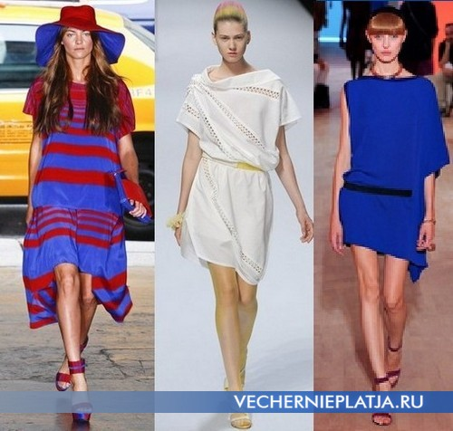 Асимметричные платья туники от DKNY, Issey Miyake и Hermes