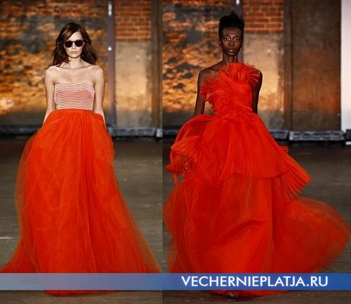 Платья оранжевого цвета Весна-Лето 2012 от Christian Siriano