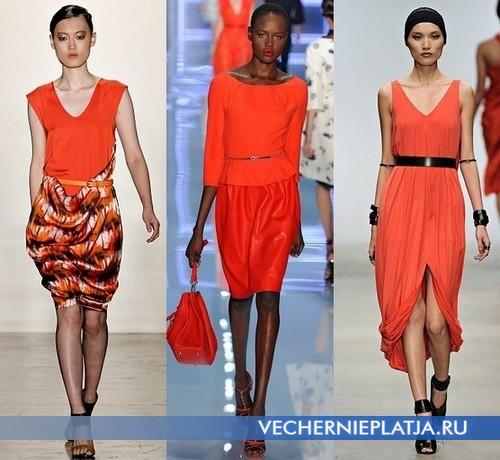 Макияж к оранжевому платью, модели от Zero + Maria Cornejo , Christian Dior и Amanda Wakeley