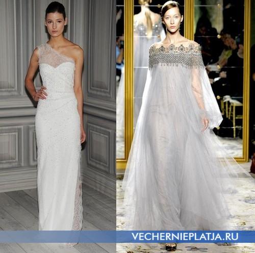Свадебные платья с открытыми плечами от Monique Lhuillier и Marchesa
