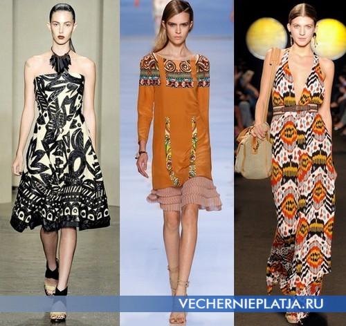 Платья с этническим принтом Весна-Лето 2012 от Donna Caran, Etro, Paul&Joe