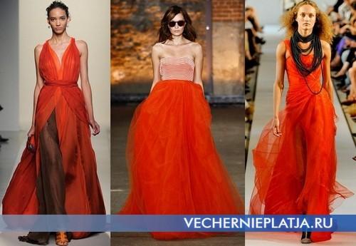 Красные вечерние платья 2012 длинные от Bottega Veneta, Christian Siriano, Oscar de la Renta
