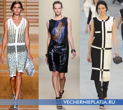 Платья-футляр с заниженной талией от Versus, Bottega Venetta, Chanel