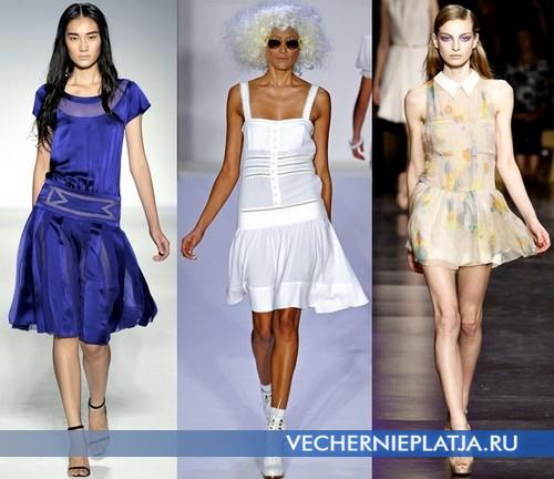 Модные платья с заниженной талией и расклешенной юбкой от Alberta Ferretti, Bebe, Cacharel