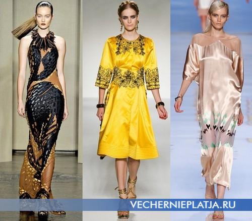 Модные платья в этническом стиле от Donna Caran, Moschino, Etro