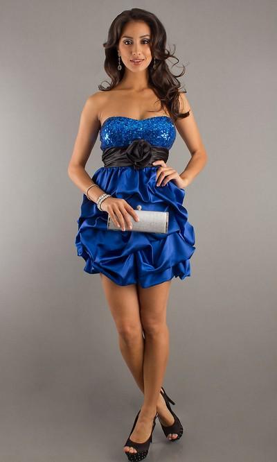 Вечерние платья мини 2012, модное мини платье синего цвета