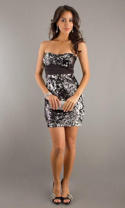 Мини-платье клубное с паетками