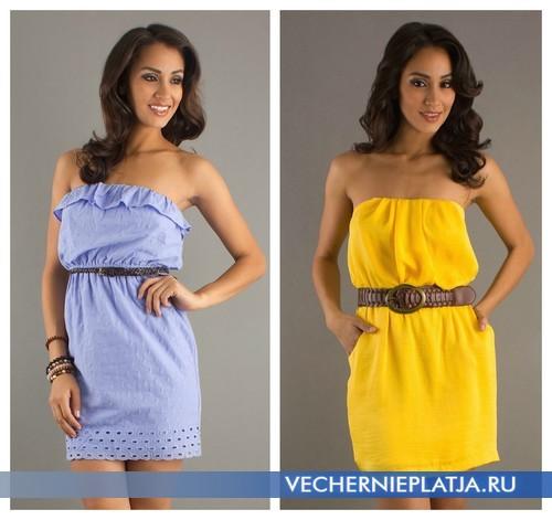 короткие платья без бретелек фото