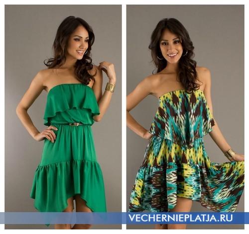 Ассиметричные платья без бретелек