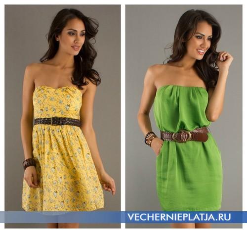 Яркие летние платья без бретелек