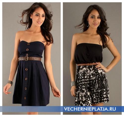 Короткое черное платье без бретелек