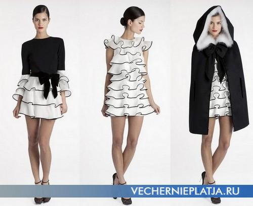 Черно-белые платяе с воланами 2011-2012 Azzaro