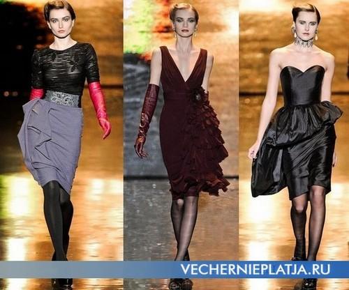 Платья с воланами фото, Badgley Mischka 2011-2012
