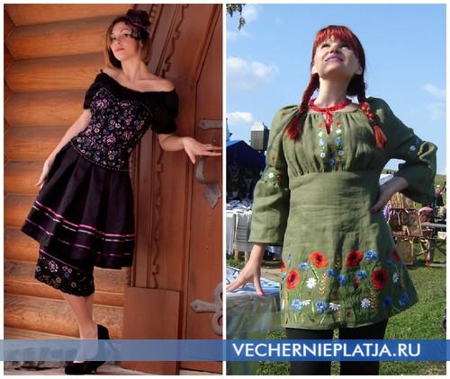 Льняные платья с украинской вышивкой
