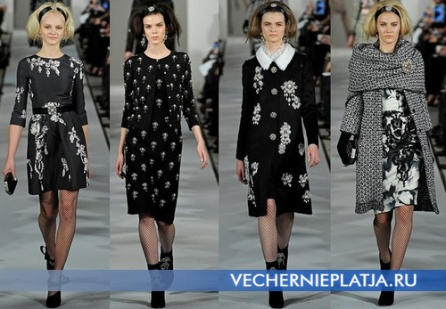 Черные платья на Новый год 2013 с белым узором, Oscar de la Renta