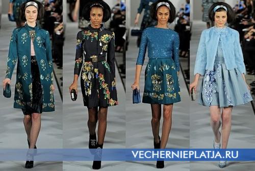 Красивые платья на Новый год 2013 с принтом, Oscar de la Renta
