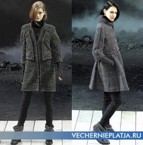 Теплое серое шерстяное платье на осень и зиму от Шанель