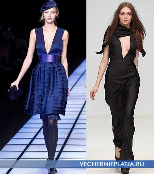 Модные платья с глубоким декольте фото от Giorgio Armani и Dasha Gauser