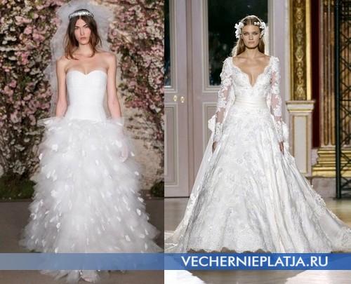Свадебные платья с глубоким декольте от Oscar de la Renta и Zuhair Murad