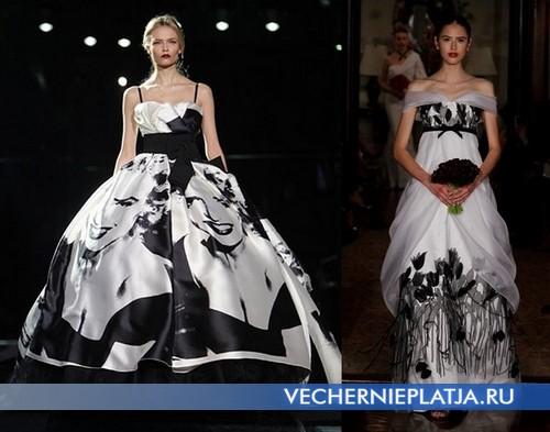 Дизайнерские черно белые свадебные платья