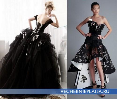 Свадебные платья черно белые