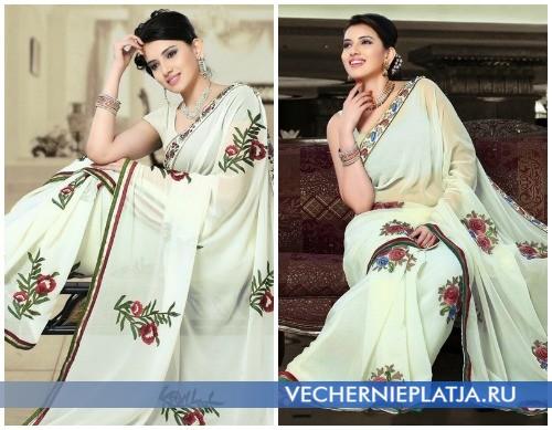 Свадебное сари с богатой вышивкой