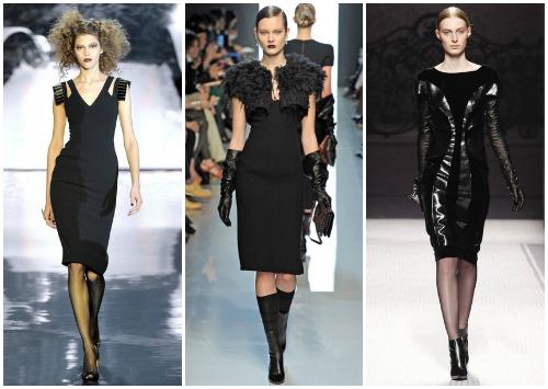С чем носить черное платье по колено
