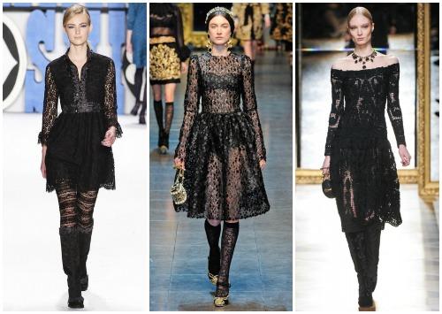 С чем носить черное кружевное платье, на фото – платья Осень-Зима 2012-2013 от Anna Sui, Dolce & Gabbana, Salvatore Ferragamo