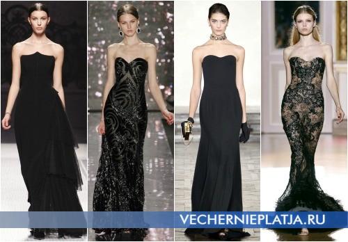 Вечерние черные платья с открытыми плечами Осень-Зима 2012-2013
