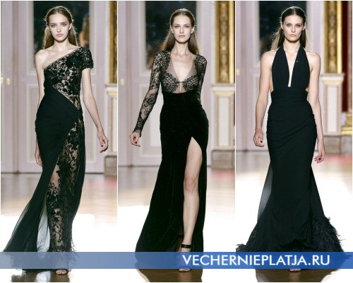 Длинные вечерние платья черного цвета фото