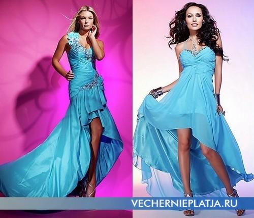 Голубые короткие платья с длинным шлейфом