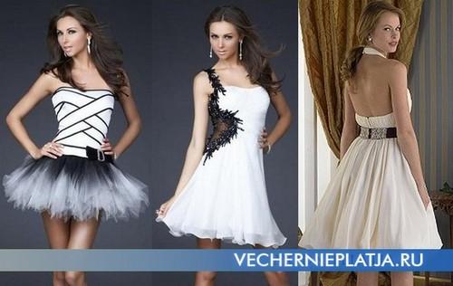 Короткое платье с пышной юбкой белое с черным