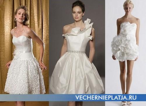 Белые короткие платья с пышной юбкой